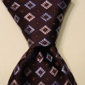 IKE BEHAR Men's Silk Necktie Geometric Purple/Blue